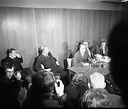 Dr Tiede Herrema Leaves Dublin.   (J87)..1975..08.11.1975..11.08.1975..8th November 1975..After his ordeal at the hands of a kidnap gang led by Eddie Gallagher,Dr Tiede Herrema held a press conference prior to his departure to his home in Holland. Mr herrema accompanied by his wife, Elisabeth,thanked the Irish people for their prayers and well wishes whilst he was held captive. Dr and Mrs Herrema were made honorary Irish Citizens and he was made Freeman Of Limerick in recognition of his ordeal..Pictured at the press conference at Dublin Airport, Dr Tiede Herrema and his wife ,Elisabeth, relate the events that took place at Monasterevin, Co Kildare. The Minister for Foreign Affairs, Dr Garret Fitzgerald TD is seated to their left.
