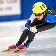 March 18, 2016 - Verona, WI - Hailey Choi, skater number 187 competes in US Speedskating Short Track Age Group Nationals and AmCup Final held at the Verona Ice Arena.