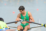 Chungju, South Korea. Sunday Heats, MEX. LM1X. Alan Eber ARMENTA VEGA. Moves away from the start on the opening day of the 2013 FISA World Rowing Championships, Tangeum Lake International Regatta Course. 10:26:11  Sunday  25/08/2013 [Mandatory Credit. Peter Spurrier/Intersport Images]