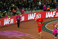 London, August 08 2017 . Lingwei Li, China, celebrates her victory in the women's javelin final on day five of the IAAF London 2017 world Championships at the London Stadium. © Paul Davey.