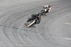 Matt Harris' on his 40 Cal 1923 Harley-Davidson Model-J just ahead of Moonshiner Josh Owens on his Harley racer at Billy Lane's Sons of Speed vintage motorcycle racing during Biketoberfest. Daytona Beach, FL, USA. Saturday October 21, 2017. Photography ©2017 Michael Lichter.