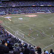 David Villa, NYCFC, scores his sides first ever goal at Yankee Stadium during the New York City FC v New England Revolution, inaugural MSL football match at Yankee Stadium, The Bronx, New York,  USA. 15th March 2015. Photo Tim Clayton