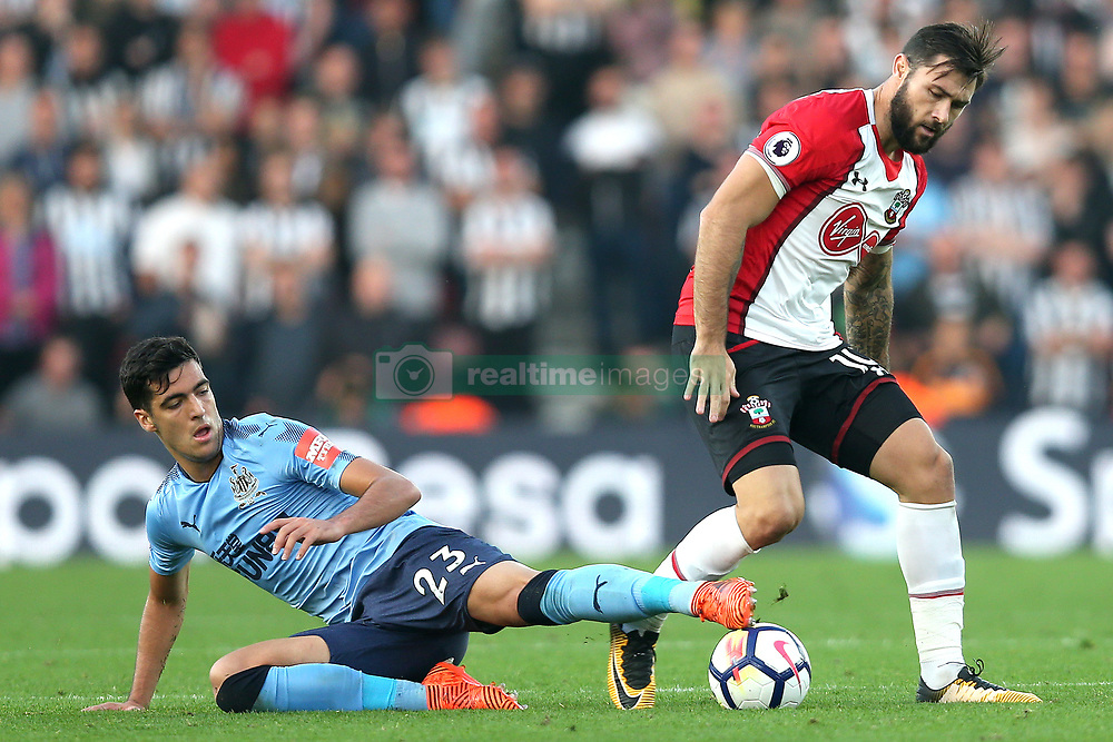15 October 2017 - Premier League Football - Southampton v Newcastle United - Mikel Merino of Newcastle stretches for the ball to try and intercept Charlie Austin of Southampton - Photo: Charlotte Wilson / Offside