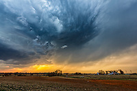 A supercell thunderstorm strengthens as it approaches Anthony, Kansas