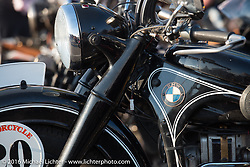 Denis Sharon's 1936 BMW r12 at High Desert Harley-Davidson in Meridian, Idaho for the hosted dinner strop at the end of stage 13 (257 miles) of the Motorcycle Cannonball Cross-Country Endurance Run, which on this day ran from Elko, NV to Meridian, Idaho, USA. Thursday, September 18, 2014.  Photography ©2014 Michael Lichter.
