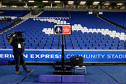 A view of the VAR (Video Assistant Referee) system pitch side at the AMEX Stadium