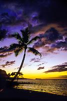 Sunset, Makena Beach (Molokini in background), Maui, Hawaii USA