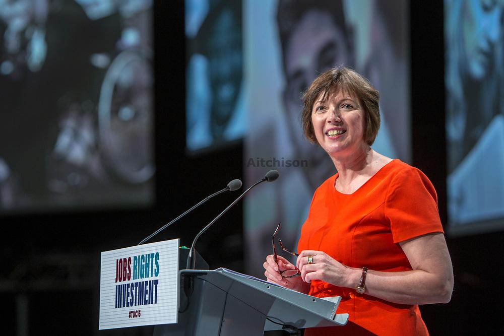 Frances O'Grady TUC General Secretary speaking at the TUC congress 2016, Brighton. UK.