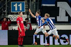 (L-R) Hans Fredrik Jensen of FC Twente,  Daniel Hoegh of sc Heerenveen, Morten Thorsby of sc Heerenveen 1-0 during the Dutch Eredivisie match between sc Heerenveen and FC Twente Enschede at Abe Lenstra Stadium on February 03, 2018 in Heerenveen, The Netherlands