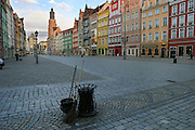 Street cleaning, early morning, in the Old Town Square, Wroclaw, Poland.