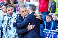 Wales Manager Ryan Giggs greets Slovakia Manager Pavel Hapel during the UEFA European 2020 Qualifier match between Wales and Slovakia at the Cardiff City Stadium, Cardiff, Wales on 24 March 2019.
