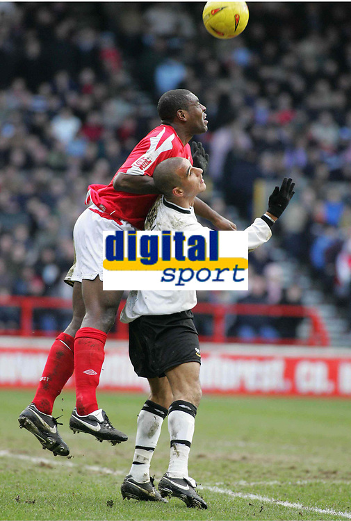 Photo: Paul Thomas. Nottingham Forest v Derby County. Forest Ground, Nottingham. Coca Cola Championship. 26/02/2005. Forest captain Wes Morgan and Marcus Tudgay.