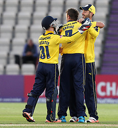 Hampshire's Sean Ervine celebrates taking a wicket - Photo mandatory by-line: Robbie Stephenson/JMP - Mobile: 07966 386802 - 04/06/2015 - SPORT - Cricket - Southampton - The Ageas Bowl - Hampshire v Middlesex - Natwest T20 Blast