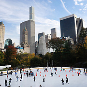 NEW YORK, NEW YORK -NOVEMBER 4: The Wollman Ice Skating Rink, also know as The Trump Skating Rink at the southern part of Central Park, Manhattan, New York.  4th November 2017. (Photo by Tim Clayton/Corbis via Getty Images)