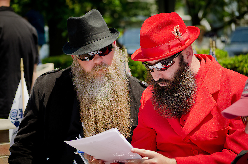 Wally Lutz and Anthony Francolino working on tallying the scores for the 1st Uptown Pitman Beard & Moustache Competition.