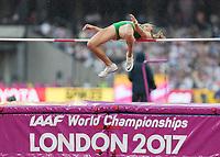 Athletics - 2017 IAAF London World Athletics Championships - Day Two (AM Session)<br /> <br /> Event: High Jump Women - Heptathlon<br /> <br /> Xenia Krizsan (HUN) clears the high jump bar <br /> <br /> COLORSPORT/DANIEL BEARHAM