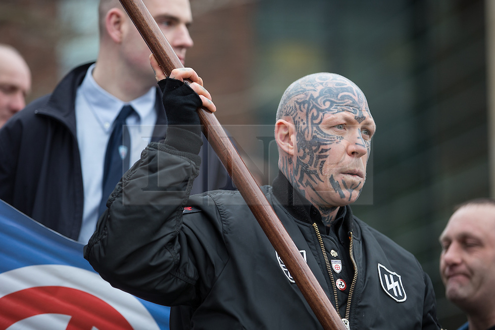 "© Licensed to London News Pictures . 21/03/2015 . Newcastle , UK . Neo-Nazis and skinheads from across Europe organise a "" White Man March "" in Newcastle , under the banner of "" National Action "" . Photo credit : Joel Goodman/LNP"