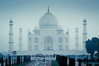 A misty morning at the Taj Mahal in Agra, Uttar Pradesh, India