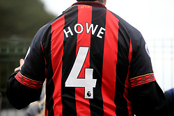 An AFC Bournemouth fan wears a 'Howe 4' ahead of the Premier League match at the Vitality Stadium, Bournemouth.