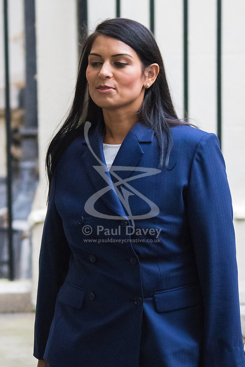 Downing Street, London, September 8th 2015. Priti Patel, Minister of State for Employment leaves 10 Downing Street following the first cabinet meeting after the summer holidays, prior to a debate in the House of Commons on the refugee crisis.