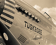 Restored P-51 Mustang in the Tuskegee Airmen colors, during the Great Georgia Airshow, 2001.