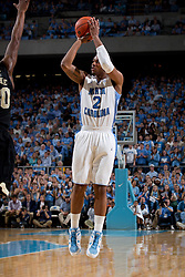CHAPEL HILL, NC - FEBRUARY 15: Leslie McDonald #2 of the North Carolina Tar Heels shoots the ball while playing against the Wake Forest Demon Deacons at the Dean E. Smith Center in Chapel Hill, North Carolina. North Carolina won 64-78. (Photo by Peyton Williams/UNC/Getty Images) *** Local Caption *** Leslie McDonald