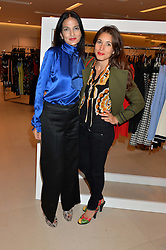 Left to right, YASMIN MILLS and LAUREN KEMP at the launch of the 'Jasmine for Jaeger' fashion collection by Jasmine Guinness for fashion label Jaeger held at Fenwick's, Bond Street, London on 9th September 2015.