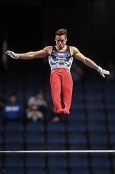 March 2, 2019 - Greensboro, North Carolina, US - SAM MIKULAK competes on the high bar at the Greensboro Coliseum in Greensboro, North Carolina. (Credit Image: © Amy Sanderson/ZUMA Wire)