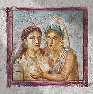 A satyr caressing a maiden a Roman erotic fresco painting from Pompeii 1st cent AD , from the Casa di L Cecilio Giocondo, inv no 110590 , Secret Museum or Secret Cabinet, Naples Archaeological Museum.  Wall art print by Photographer Paul E Williams If you prefer visit our World Gallery Print Shop To buy a selection of our prints and framed prints desptached  with a 30-day money-back guarantee and is dispatched from 16 high quality photo art printers based around the world. ( not all photos in this archive are available in this shop) https://funkystock.photoshelter.com/p/world-print-gallery .<br /> <br /> USEFUL LINKS:<br /> Visit our other HISTORIC AND ANCIENT ART COLLECTIONS for more photos to buy as wall art prints  https://funkystock.photoshelter.com/gallery-collection/Ancient-Historic-Art-Photo-Wall-Art-Prints-by-Photographer-Paul-E-Williams/C00002uapXzaCx7Y