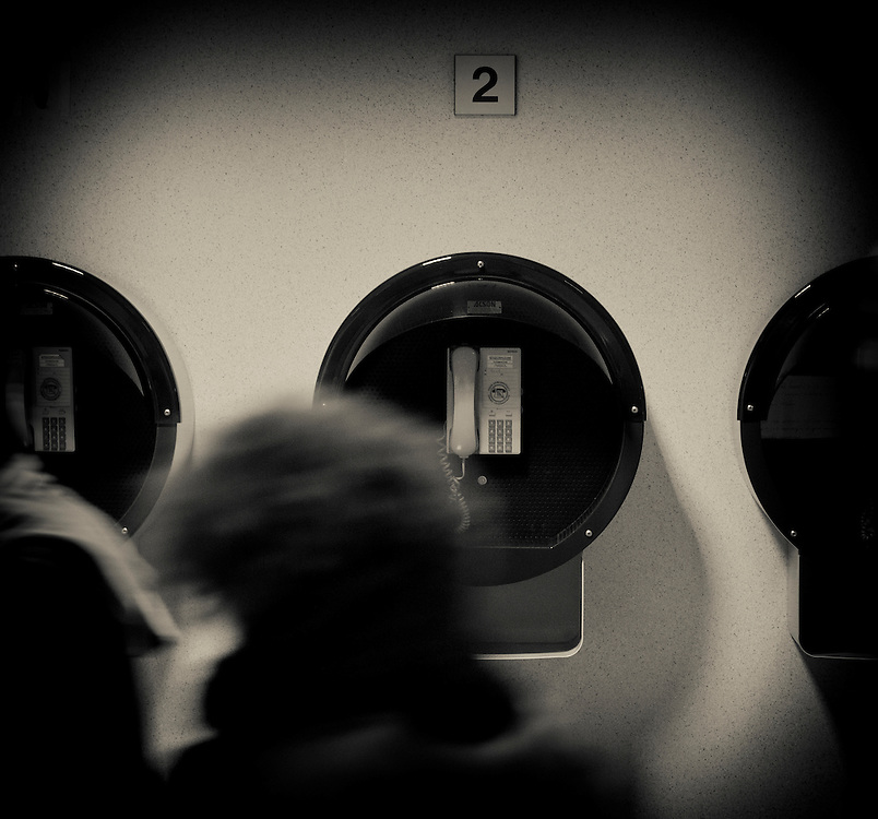 Brussels, Belgium 16 December 2010.View of telephone cabins inside the European Union summit building in Brussels..Photo: SCORPIX /  Patrick Mascart