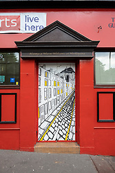 Street art project Openclose Dundee using art on doors in out of the way alleyways and lanes by local artists in the city. Dundee,Scotland, UK. The Northeastern by Pamela Scott