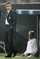 """L'Allenatore dell'Inter Jose Mourinho con il Vice Giuseppe Baresi<br /> Milano 22/10/2008 Stadio """"Giuseppe Meazza"""" <br /> Champions League 2008/2009<br /> Inter-Anorthosis (1-0)<br /> Foto Luca Pagliaricci Insidefoto"""
