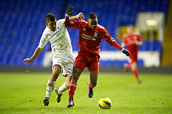 LONDON, ENGLAND - Wednesday, February 1, 2012: Liverpool's Raheem Sterling in action against Tottenham Hotspur's captain Massimo Luongo during the NextGen Series Quarter-Final match at White Hart Lane. (Pic by David Rawcliffe/Propaganda)