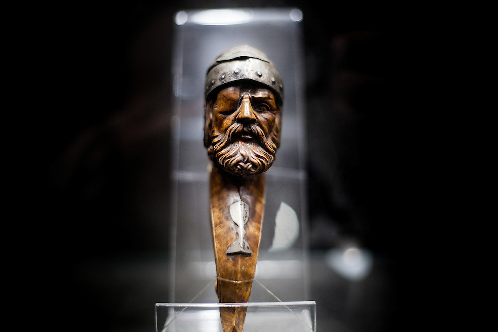 """A Jan Zizka portrait cut out of wood exhibited at the at """"The Hussite Museum"""" in Tabor. Jan Žižka z Trocnova a Kalicha was a Czech general and Hussite leader, follower of Jan Hus who was born in the small village of Trocnov (now part of Borovany) in Bohemia, into a gentried family. He was nicknamed """"One-eyed Zizka."""