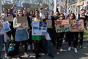 Young students strike for climate in London, England, United Kingdom. The School strike for climate, also known variously as Fridays for Future, Youth for Climate and Youth Strike 4 Climate, is an international movement of school students who are deciding not to attend classes and instead take part in demonstrations to demand action to prevent further global warming and climate change.