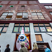Street level scene at a First Friday event in Crossroads Arts District area of Kansas City, Missouri