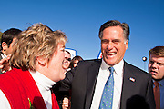 06 DECEMBER 2011 - PARADISE VALLEY, AZ: Marilyn Astroth (CQ) from the Ahwatukee section of Phoenix, talks to Mitt Romney at Hermosa Inn Tuesday. Former Vice President Dan Quayle endorsed Republic Presidential hopeful Mitt Romney at the Hermosa Inn in Paradise Valley Tuesday.    PHOTO BY JACK KURTZ