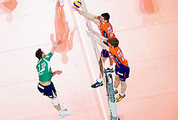 Wout Wijsmans of Cuneo vs Milan Rasic of ACH and Jan Klobucar of ACH  during volleyball match between ACH Volley Ljubljana and Bre Banca Lannutti Cuneo (ITA) in Playoff 12 game of CEV Champions League 2012/13 on January 15, 2013 in Arena Stozice, Ljubljana, Slovenia. (Photo By Vid Ponikvar / Sportida.com)