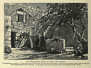 THE TRADITIONAL HOUSE OF SIMON THE TANNER. A Muhammedan sanctuary. On the south side of the court of the house there is an arched recess, in which a lamp is always kept burning, and where pilgrims perform their devotions. A well of good water and a fine fig-tree add to the attractions of this place. Wood engraving of from 'Picturesque Palestine, Sinai and Egypt' by Wilson, Charles William, Sir, 1836-1905; Lane-Poole, Stanley, 1854-1931 Volume 3. Published in by J. S. Virtue and Co 1883