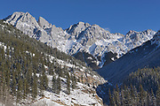 Canadian Rockies in winter. Highwood Pass, Kananaskis Country, Alberta, Canada