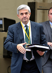 © Licensed to London News Pictures. FILE PICTURE DATED 20/09/2011. BIRMINGHAM, UK.  Chris Huhne at the Liberal Democrat Conference at the Birmingham. 03/02/2012 Chris Huhne today learns whether he will be charged in relation to allegations that he and his ex-wife, Vicky Pryce, conspired to pervert the course of justice in relation to a speeding incident. It has been alleged that Mr Huhne asked Miss Pryce, then his wife, to take his penalty points following the incident, which took place in March 2003. If charged then it is believed Mr Huhne will have to step down from his cabinet post: Photo credit : Stephen Simpson/LNP