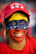 A supporter at a pro-Chavez demonstration in  in support of proposed constitutional reforms giving him more power in Caracas, Venezuela in November 2007.