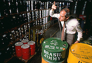 Rosewood oil from laurel trees in Brazil tested by trader Stephen Manheimer in New York City.  The rare oil is one of hundreds of natural products used in some perfumes.