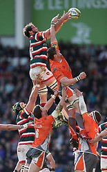Leicester Tigers Dom Barrow wins a lineout during the Aviva Premiership match at Welford Road, Leicester.
