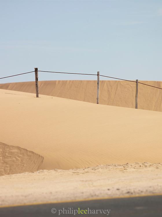 A fence running along a road through the Namib Desert, Namibia