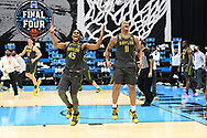 INDIANAPOLIS, INDIANA - APRIL 05: Mark Vital #11 and Davion Mitchell #45 of the Baylor Bears celebrate after defeating the Gonzaga Bulldogs in the National Championship game of the 2021 NCAA Men's Basketball Tournament at Lucas Oil Stadium on April 05, 2021 in Indianapolis, Indiana. (Photo by Brett Wilhelm/NCAA Photos via Getty Images)