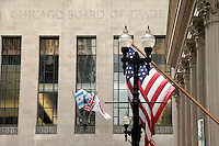 Chicago Board of Trade Facade and U.S. Flag, Chicago, Illinois