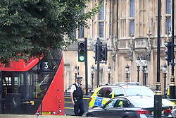 A police officer attends the scene near the Houses of Parliament, Westminster in central London, after a car crashed into security barriers outside the Houses of Parliament.