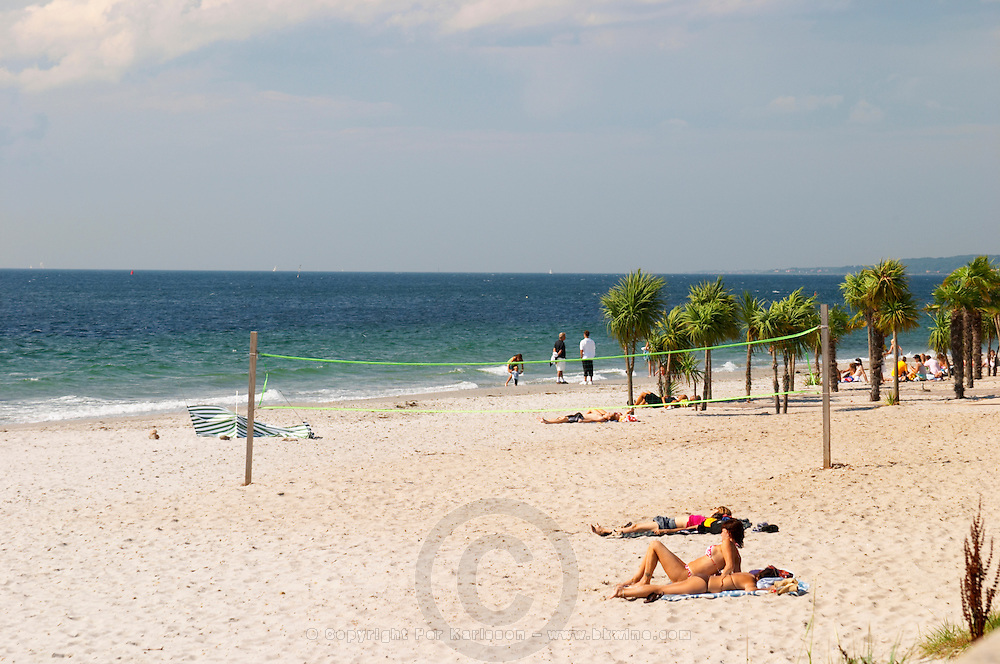 The 'Tropical Beach' artificial beach on Parapeten next to the harbour. Helsingborg, Skane, Scania. Sweden, Europe.