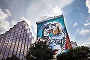 Veracruz taco's downtown location at The Line Hotel sits under Austin's largest mural crated by Sandra Chevrier and Shepard Fairey.
